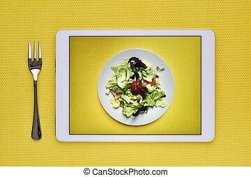 蔬菜沙拉, 在, a, 數字的藥片
