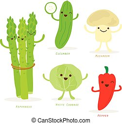 蔬菜, 卡通漫画, 漂亮, 放置, 矢量