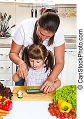 蔬菜, 厨房, 女儿, 准备, 妈妈