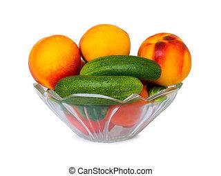 蔬菜, 同时,, 水果, 在中, 碗