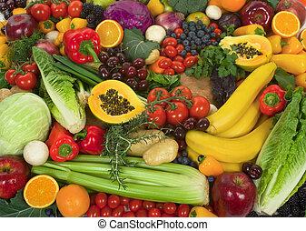 蔬菜, 同时,, 水果