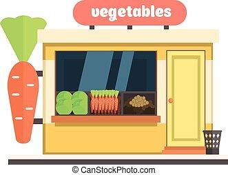 蔬菜, 商店, front., 矢量, 插圖