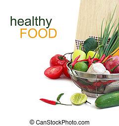 蔬菜, 在中, 金属, 滤器, 结束, 白色, (with, 样品, text)