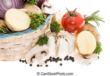蔬菜, 在, a, 籃子, 被隔离, 在懷特上