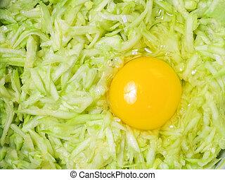 蔬菜, 未加工, 被磨碎, zucchini, 食物準備, process:, pancakes., 材料, 烹調, 概念, 嘮叨, egg.