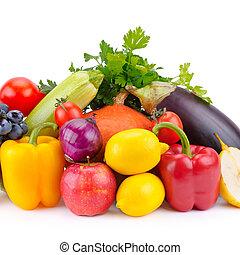 蔬菜, 水果, 被隔离, white.