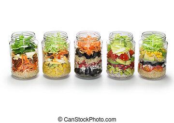 蔬菜, 色拉, 在中, 玻璃罐子, 不, 盖子