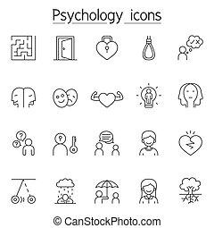 薄くなりなさい, スタイル, アイコン, セット, 線, 心理学