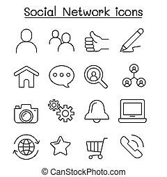 薄くなりなさい, ネットワーク, 社会, 線, アイコン, スタイル, セット