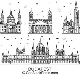 薄くなりなさい, ランドマーク, 歴史的, 線, 建物, セット, 旅行, アイコン, ハンガリー人