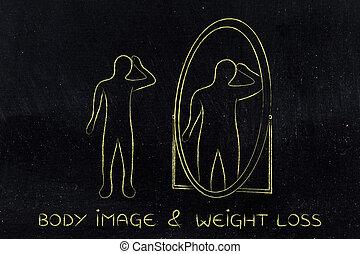 薄くなりなさい, 人, ミラーで見ること, そして, 見る, 彼自身, ∥ように∥, 太りすぎ
