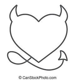 薄くなりなさい, 白, 線である, 愛, ベクトル, パターン, グラフィックス, 印, 10., 背景, 休日, 線, アイコン, 悪魔, バレンタイン, eps, 心