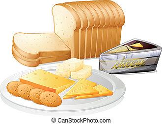 薄く切られたチーズ, ビスケット, bread