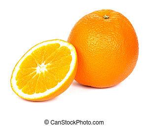 薄く切られる, オレンジ, 白い背景