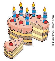 薄く切られる, ケーキ, birthday, 漫画