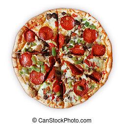 薄く切られる, デラックス, -, ピザ