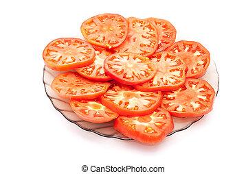 薄く切られる, トマト