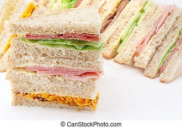 薄く切られる, プラター, サンドイッチ, bread