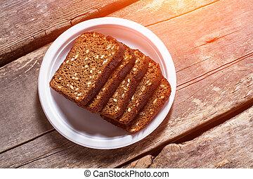 薄く切られる, プレート。, bread