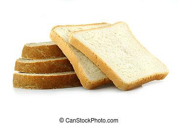 薄く切られる, 新たに, 白い背景, bread