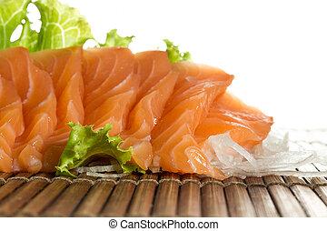 薄く切られる, 未加工, sashimi, 鮭