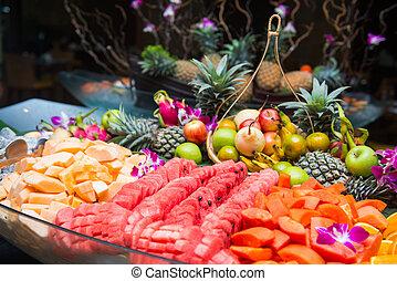 薄く切られる, 様々, 新鮮な果物