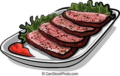 薄く切られる, 焼き肉 ビーフ