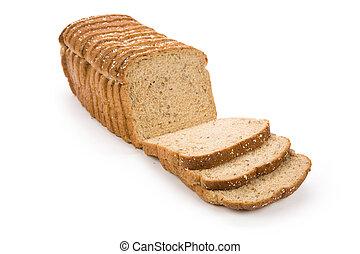薄く切られる, 茶色 パン