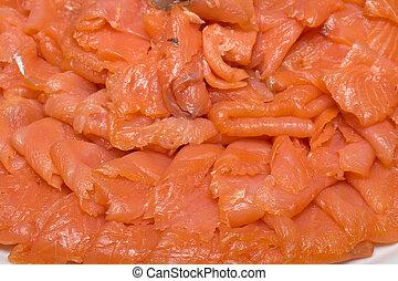 薄く切られる, 鮭, フィレ