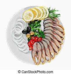 薄く切られる, fish, 野菜