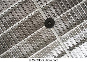 薄板金, 屋根, ランプ, 照明, 下に