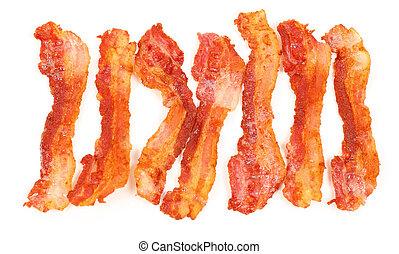 薄片, 在上方, 咸肉, 被隔离, 背景, 早餐, 白色