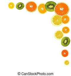 薄片, ......的, 新鮮的水果, 背景