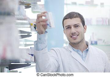 薬剤師, 化学者, 人, 中に, 薬局, 薬局
