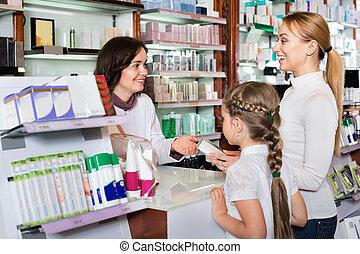 薬剤師, 相談, 顧客, 朗らかである, 店, 薬