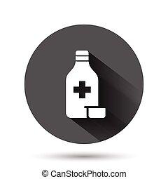 薬局, イラスト, ボタン, 黒, アイコン, 影, concept., 長い間, ビジネス, 平ら, ベクトル, びん, style., 丸薬, 薬, 円, ラウンド, 背景, effect.