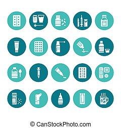 薬局, サイン, glyph, 完全, シルエット, 形態, 健康, 鎮痛剤, ピクセル, カプセル, タブレット, ...