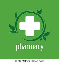 薬局, ベクトル, 緑の背景, ロゴ