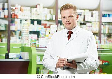 薬局, 化学者, 人, 中に, 薬局