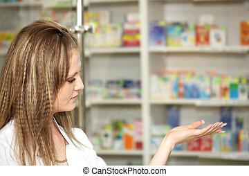 薬局, 化学者, 女, 中に, 薬局