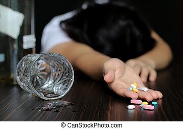 薬, アルコール, 女性