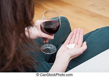 薬, ガラス, 女, ワイン