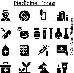薬, セット, アイコン