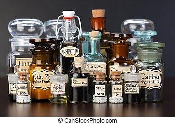 薬, 様々, ホメオパシーである, びん, 薬局