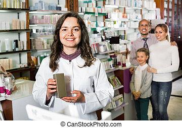 薬, 薬剤師, 店, 朗らかである, 顧客, 相談