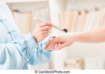 薬, 選択肢, セラピスト, moxa の処置