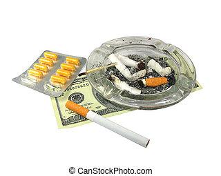 薬, 隔離された, お金, タバコ, 白, ash-trash
