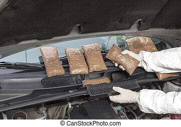 薬, 隠された, compartme, 車
