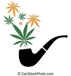 薬, cannabis., マリファナ, 花の 芽, そして, パイプ, 隔離された, 白, 背景, ベクトル, illustraton