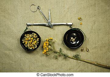 薬, tansy., herbs., dried., 草, 薬効がある, phytotherapy